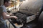 Feeding Zwartbles Wool into Teasing Machine