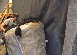 Freshly Teased Bag of Wool Dragged to Carding Room