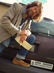 Liam Ó Maonlaí with His New Bumper Sticker