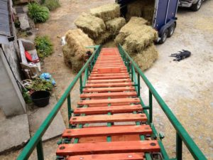 A Pile of Hay Wait For It's Ride Up the Elevator