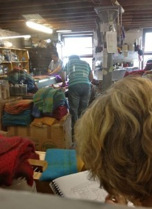 I Peer Through a Window into the Workshop as Rosamond Sketches the Ladies at Work