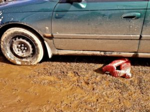What Happened Here? No Body Attached!! Maybe a Boot Puncture?