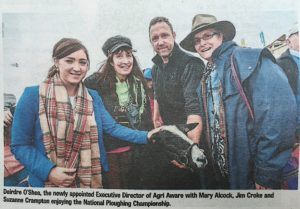 Made it into the Kilkenny People while at the ploughing with a load of other celebrities Jim Croke & Mary Alcock and the new Executive Director of Agri Aware Deirdre O'Shea. Photo By Pat More